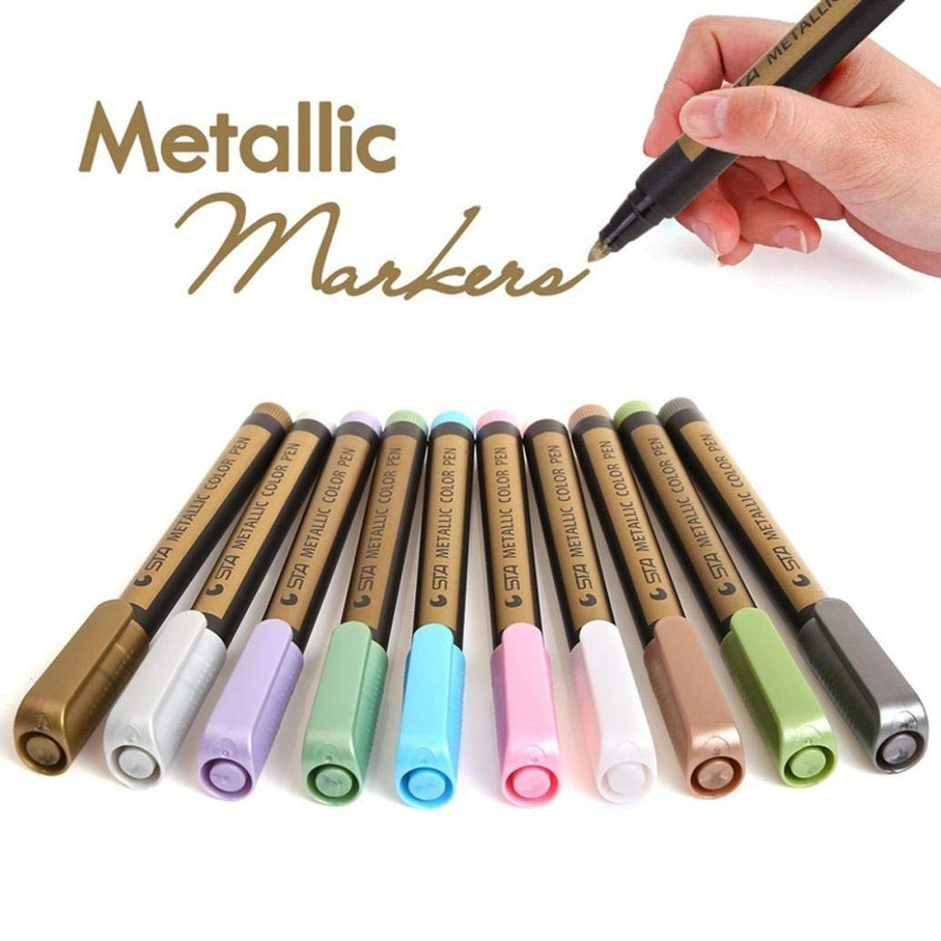 Metallic Marker Pens, Creazy 12 A2PC Metallic Markers Paints Pens Art Glass Paint Writing Markers DIY Card Making
