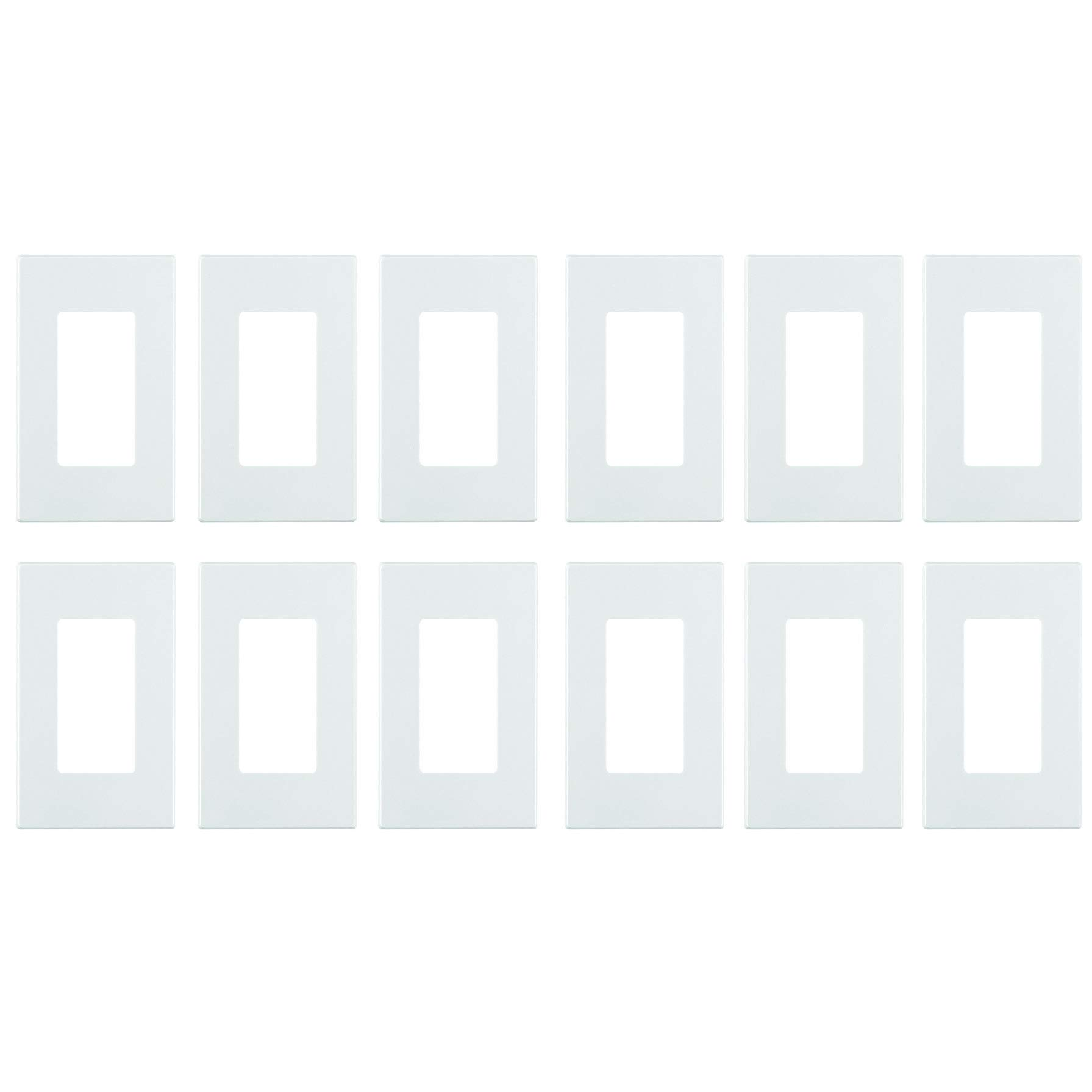 Leviton 80301-SW 100 Pack 1-Gang Decora Plus Wallplate Screwless Snap-On Mount, White