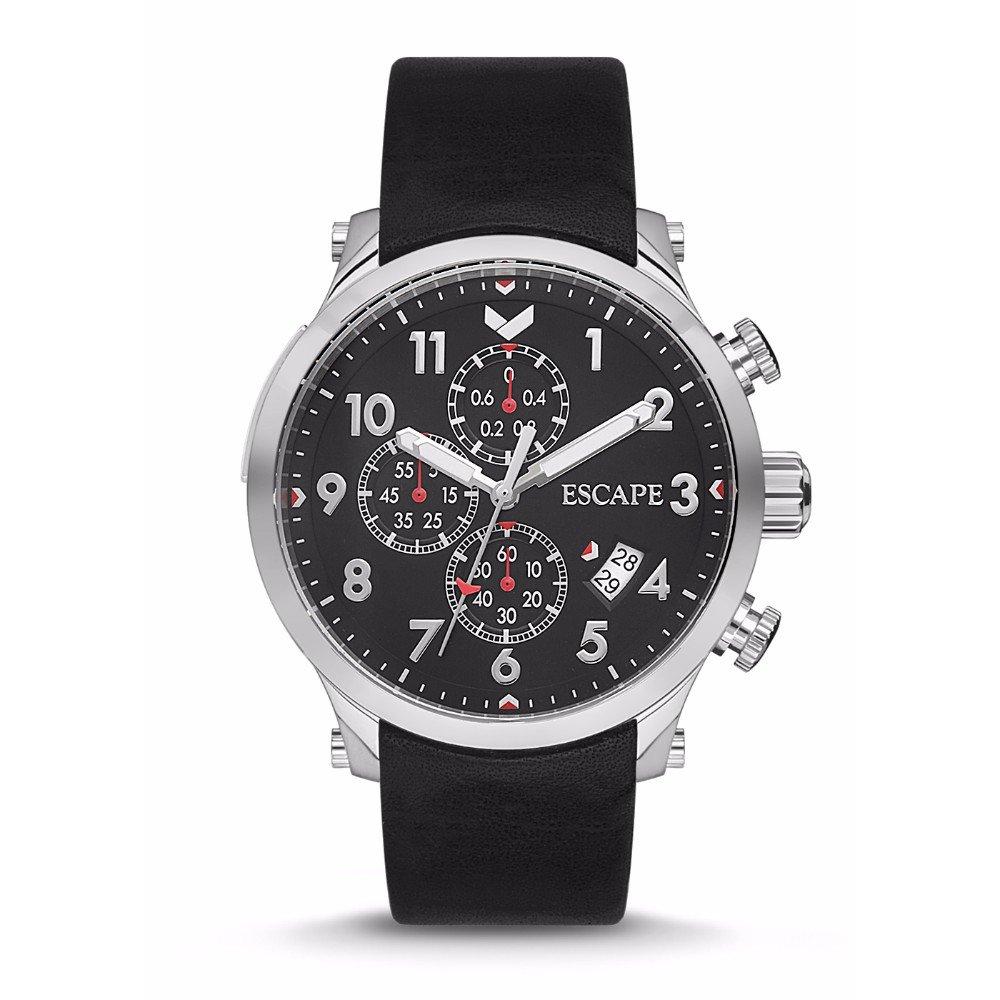 Escape Men's Lukla 44MM Chronograph Silver Case on Black Leather Strap Watch by ESCAPE