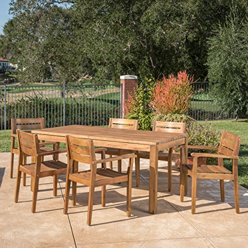 Teak Set Dining Table (Great Deal Furniture William Outdoor 7 Piece Teak Finished Acacia Wood Dining Set with Expandable Dining Table)
