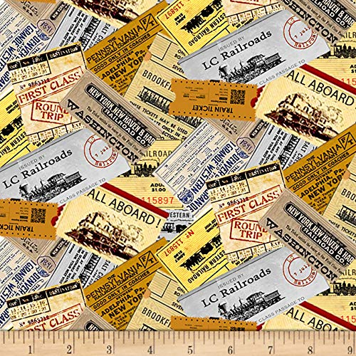 Blank Quilting Locomotion Train Tickets Ecru Fabric by The Yard