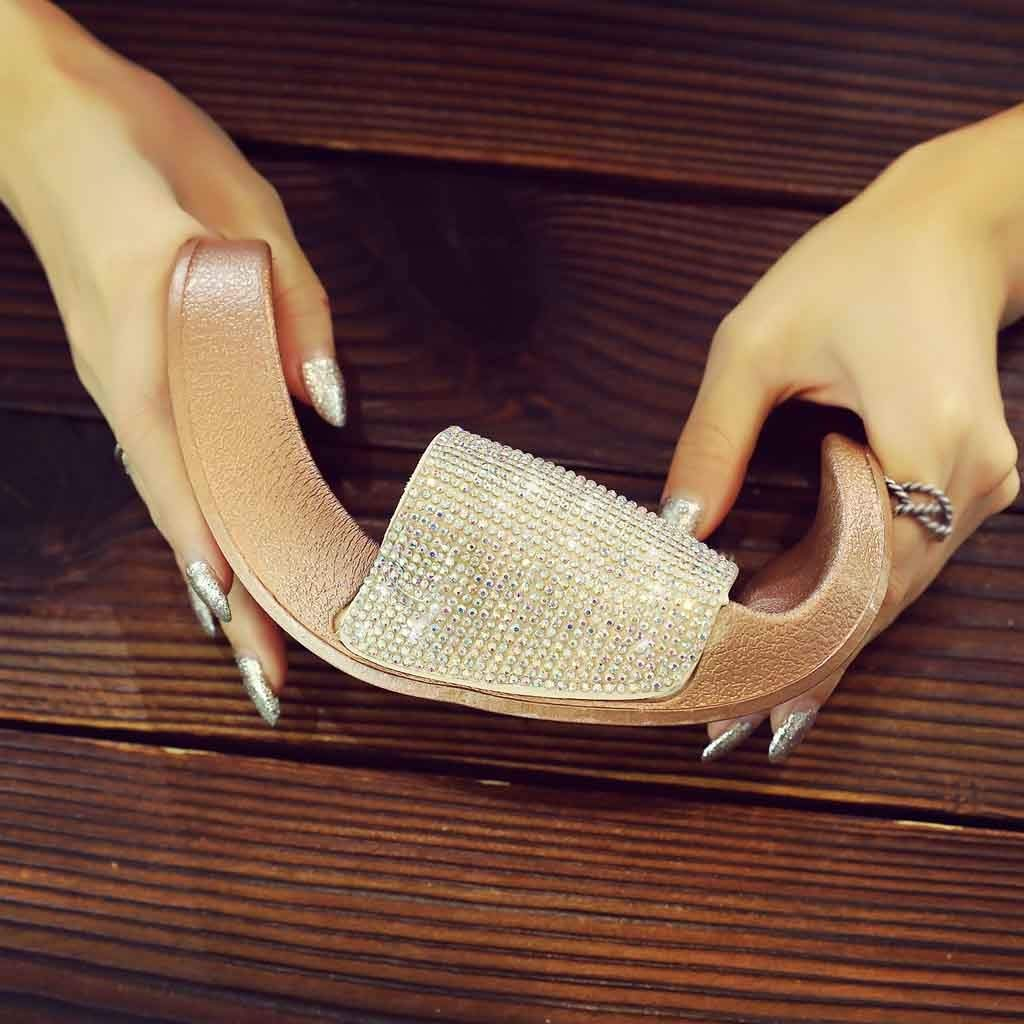 Lurryly Womens Flat Slides Sandals Diamante Sparkly Sliders Colorful Diamond Slippers