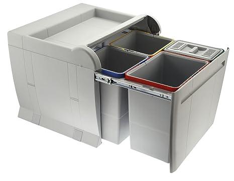 ELLETIPI City PTA 5045 C Mülleimer Mülltrennung, ausziehbar für Base, grau,  52 x 47 x 44 cm