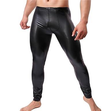 2150fdd03dc6f YUFEIDA Men's Faux Leather Tight Pants Man Leggings PVC Long Trousers ...