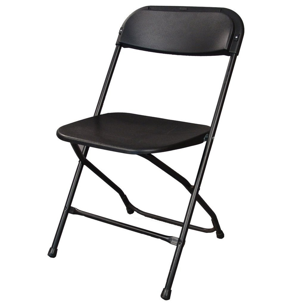 Ontario Furniture Lightweight, Lifetime Commercial Grade Contoured, Stackable, 800-Pound Weight Capacity, Premium Steel Frame Black Metal Folding Chair with Plastic Seat and Back for All Your Events ONT-CH05BK