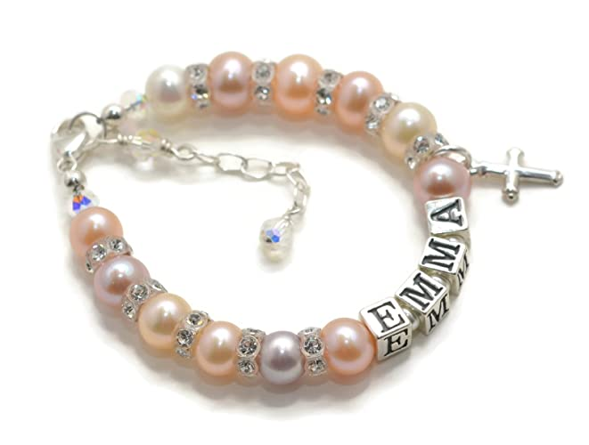 Amazon Com Pearl Baptism Bracelet Real Pearl Baby Bracelet Baby