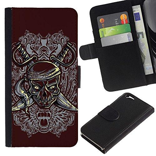 EuroCase - Apple Iphone 6 4.7 - Pirate Skull & Swords Crest - Cuir PU Coverture Shell Armure Coque Coq Cas Etui Housse Case Cover