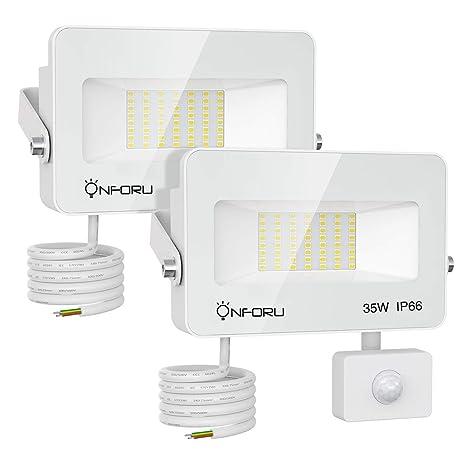 Onforu 35W Foco LED con Sensor de Movimiento (2 Pack), 3000LM ...
