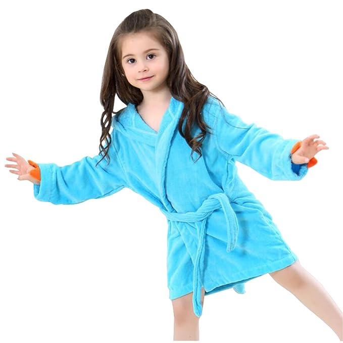 628ea177b Amazon.com  Kids Bath Robe Toddler Cotton Towel Animal Dinosaur ...