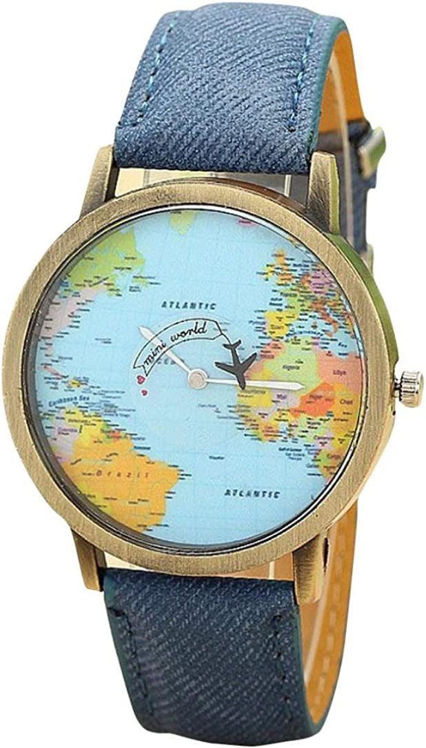 Luweki New Global Travel by Plane Map Women Dress Watch Denim Fabric Band Blue