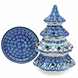 "Polish Pottery Handmade 8"" Christmas Tree Luminary Star Cutouts Traditional Stoneware Pattern 602-2187"