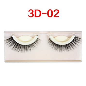 3c17bbe7605 Amazon.com : 3D mink false eyelashes extension reusable self-adhesive curly  Natural eyelashes Self adhesive eyelashes makeup tools, 3 D 02 : Beauty