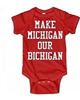 Customized Girl Michigan Bichigan Baby: Infant Rabbit Skins Lap Shoulder Creeper