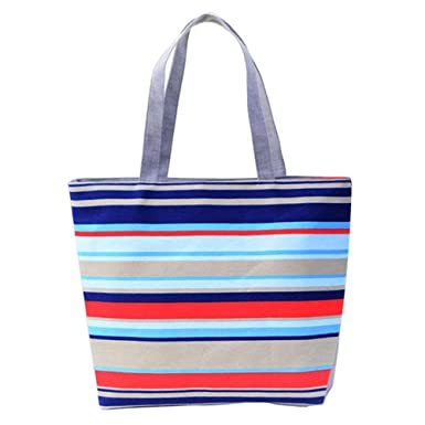 Fami Fashion Lady shopping Stripe épaule sac fourre-tout (Rouge) kqrX5TiLq