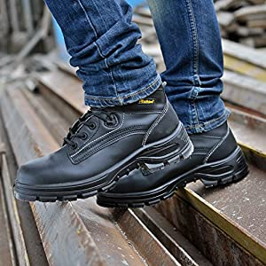 SAFETOE Men's Steel Toe Work Boots Water-Resistant Leather Lace Up Lightweight Safety Boots, Black, 12 D(M) US