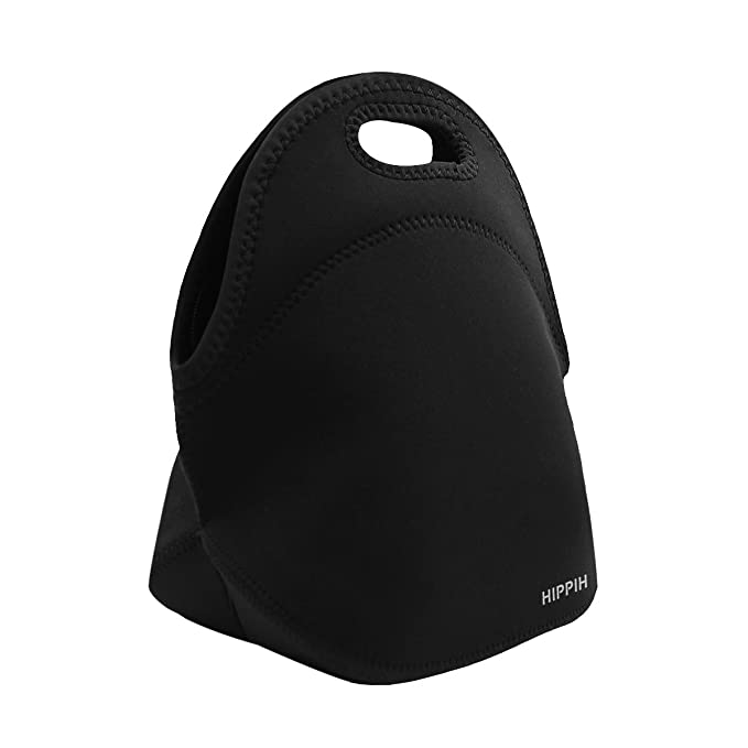 HIPPIH Insulated Waterproof Lunch Tote, Classic Durable Picnic Bag - Easy to Carry for Office, Picnic, Black