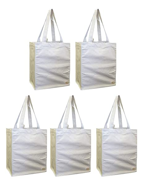 2a40fd82388 Amazon.com  100% Cotton Canvas Oversized Grocery Multipurpose Tote Bag 5  Pack