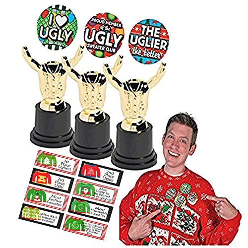 Ugly Christmas Sweater Trophy (Ugly Christmas Sweater Costume Trophies for 1st 2nd & 3rd Place Winners! Ugly Sweater Award Tags Included! Plus Bonus Ugly Christmas Sweater)