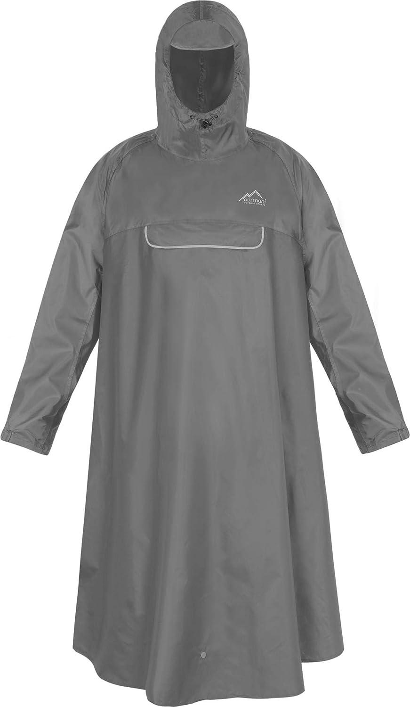 normani Unisex Regenponcho 3M Refelktoren und seitlichen Eingriffen Farbe Flecktarn Gr/ö/ße S Wind und Wasserdicht mit Bauchtasche