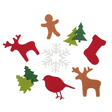 Christmas Shapes.Groves 20 Applique Sew Or Glue On Xmas Felt Motifs Christmas Shapes