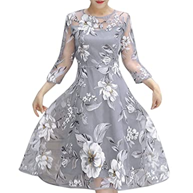DIKEWANG Ladies Organza Floral Print Dress, Chic Sexy Womens Summer Long Sleeve Wedding Party Ball