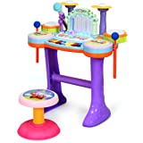 Costzon 4 in1 Educational Piano Drum Toy Set for Kids, with Rhythmic Water Column Fountain, Piano, Drum, and Microphone…
