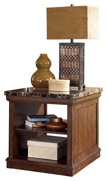 Ashley Furniture Signature Design   Merihill End Table   Rectangular   Faux Marble  Top With Medium