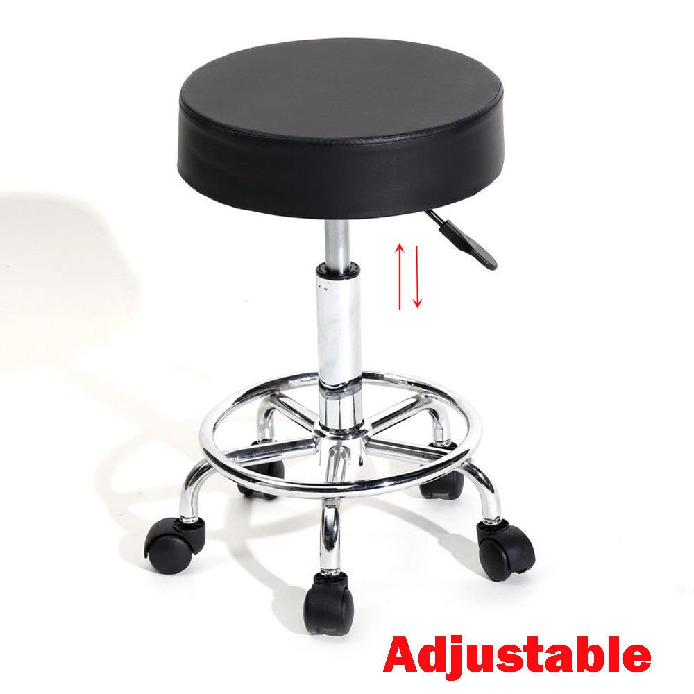 Swivel Height Adjustable Bar Stool Round Seat Massage Spa Salon Chair Rolling