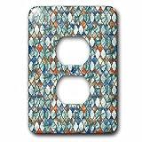 3dRose Uta Naumann Faux Glitter Pattern - Luxury Trendy Grey Colorful Moroccan Arabic Quatrefoil Tile Pattern - Light Switch Covers - 2 plug outlet cover (lsp_268953_6)