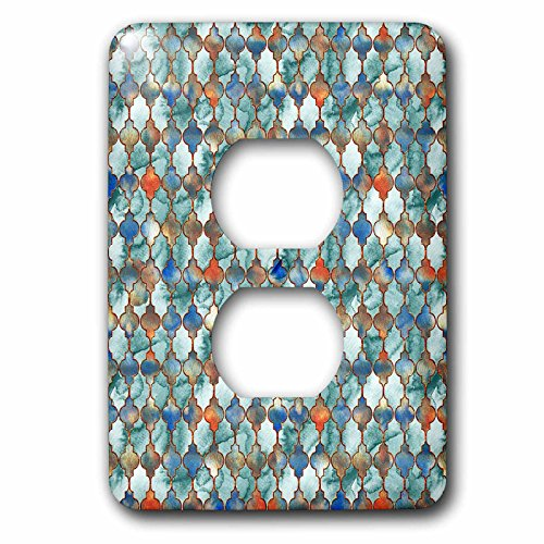 3dRose Uta Naumann Faux Glitter Pattern - Luxury Trendy Grey Colorful Moroccan Arabic Quatrefoil Tile Pattern - Light Switch Covers - 2 plug outlet cover (lsp_268953_6) by 3dRose (Image #1)