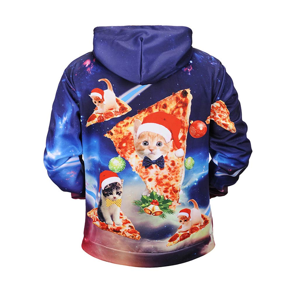 Hotcl Men Ugly Christmas Pullover Sweatshirts Winter 3D Printed Full Blouse Casual Drawstring Sweatshirt with Pocket