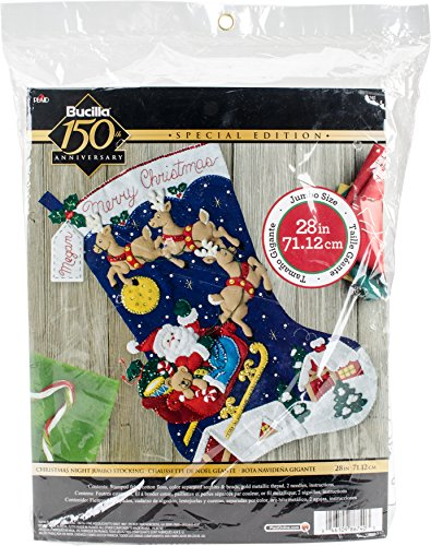 BUCILLA 86740 Felt Applique Stocking Kit Christmas Night, Size 28
