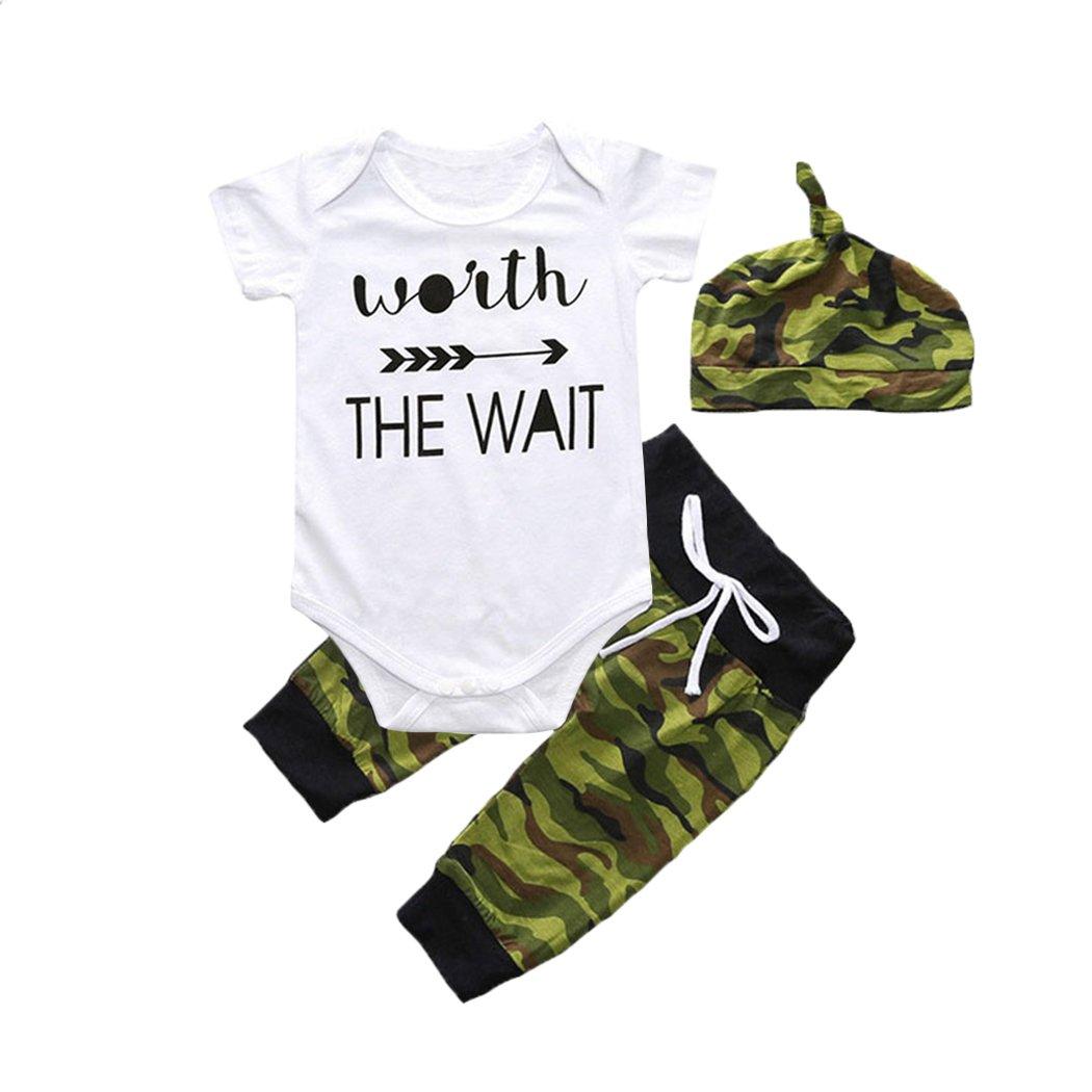 Fedpop Baby Boys 3 Piece Cotton Outfit Bodysuit Cap and Short Set 1-18 Months