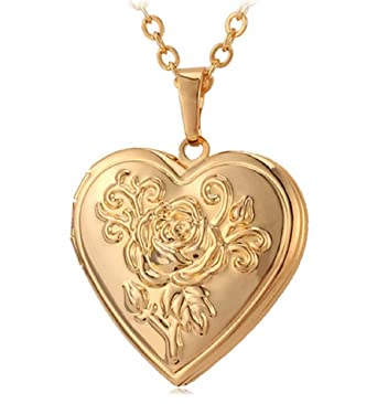 Amazon.com: Photo Frame Memory Locket Pendant Necklace Silver/Gold ...