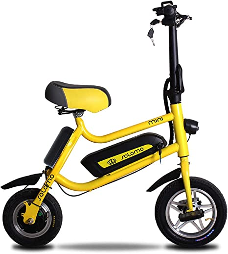 FJW Unisex Electric Bike, 12 Inch Folding E-Bike with Super Lightweight Aluminum Alloy, with Disc Brakes (Removable Lithium Battery) for Commuter City,Yellow