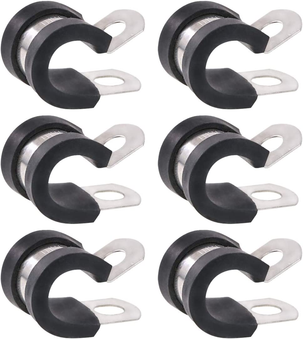 """Keadic 20Pcs 3/8"""" (10mm) Cable Clamp Rubber Wire Clamps Stainless Steel Rubber Cushioned Insulated Clamps"""
