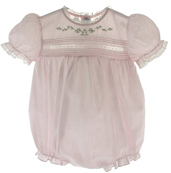 Infant Girls Pink Dressy Bubble Outfit Lace Trim Feltman Baby