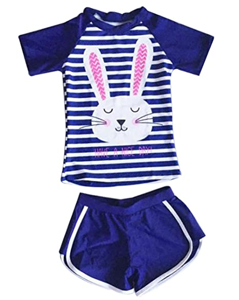 8adba714d40ff Little Girls 2Piece Short Sleeve Rabbit Swimsuits Stripe Rash Guard Sun  Protection Bathing Suit Size 5