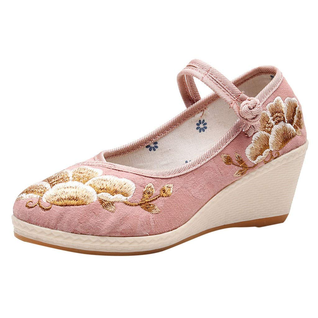 ZOMUSAR New! 2019 Women's Wedges Shallow Embroidered Shoes National Wind Single Shoes Dance Shoes Pink