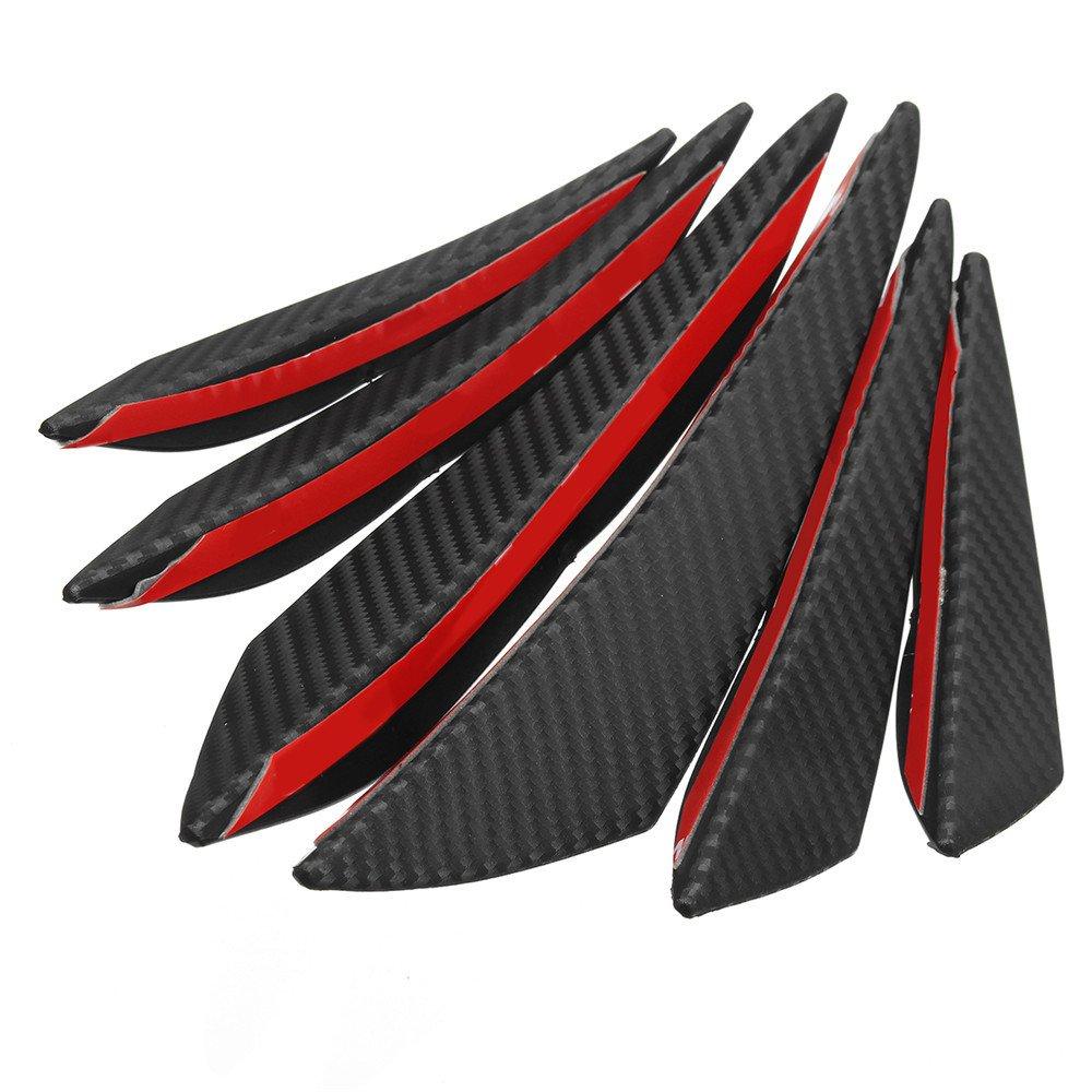 ChaRLes 6 St/ücke Universal Carbon Fiber Spoiler Frontsto/ßstange Finnen Spoiler Canards Refit Auto Spoiler Fl/ügel