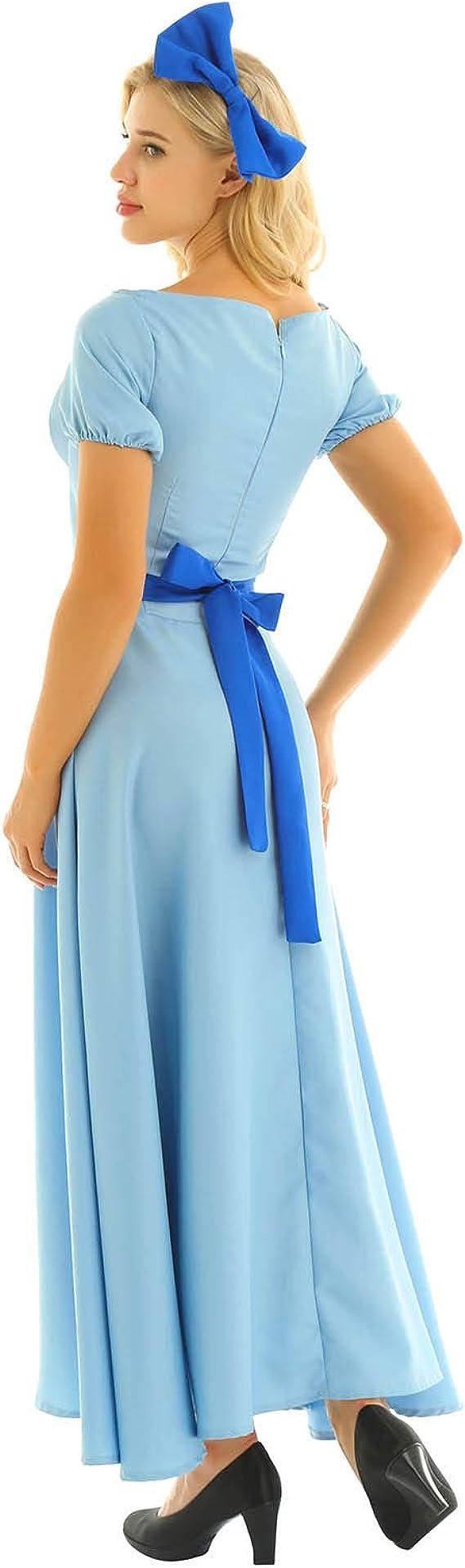 MSemis Disfraz Princesa Wendy Mujer Vestido Princesa Azul para ...
