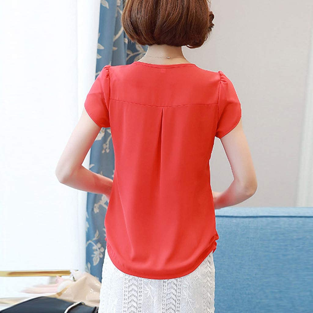 Batwing Tops for Women,Pocciol Casual Solid Color Short Sleeve Oversize T Shirts Loose Lapel Tops Plus Size