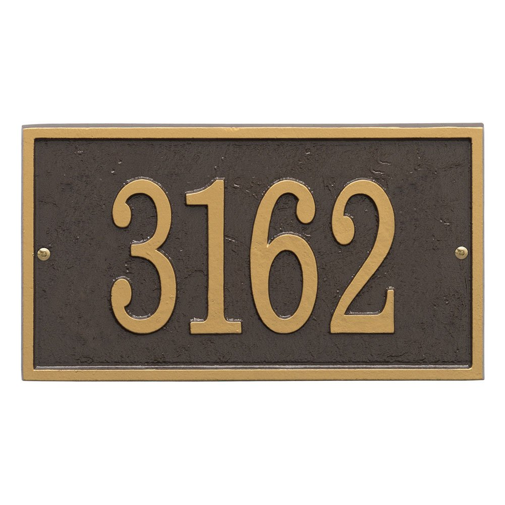 Whitehall Personalized Cast Metal Address Plaque - Custom House Number Sign - Rectangle (11'' x 6.25'') Bronze with Gold Numbers