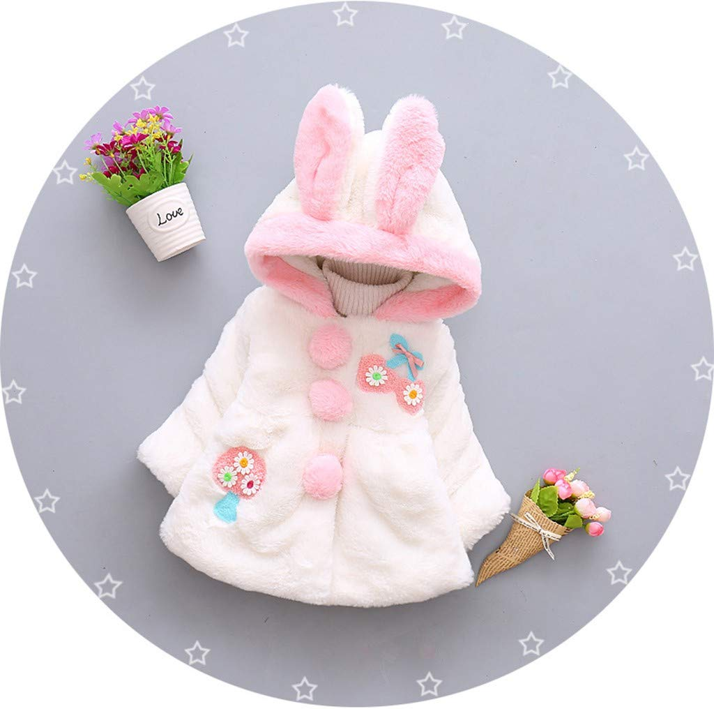 Fuzzy Cotton Coat for Baby Little Girls Winter Faux Fur Bunny Ear Warm Cloak Jacket Outwear Hood (18-24 Months, White) by sweetnice baby clothing