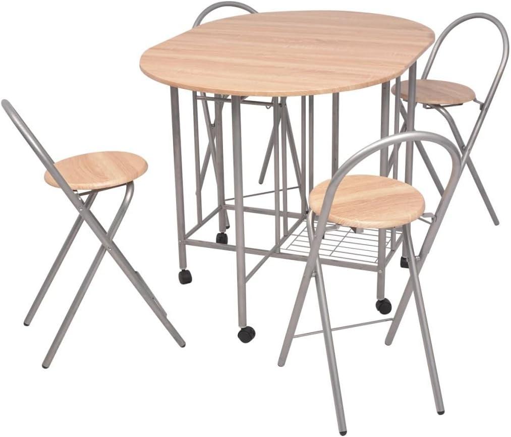 Luckyfu esta 5 Unidades Juego de Mesa y sillas Plegables de MDF.El diseño de Juego Son Tanto Elegante como confortevole. Juego de Ultima sillas de Ultima Mesa de Comedor: Amazon.es: Hogar
