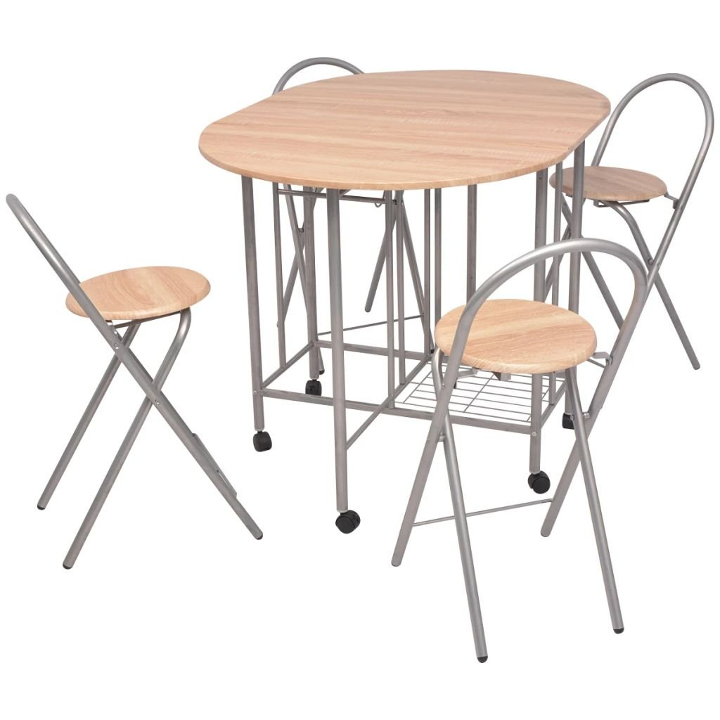 Folding Dining Table Set and Chairs Space Saving for Kitchen Small Rooms 5 Piece Oak Kitchens Inc