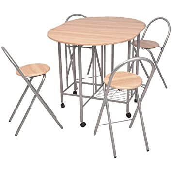 Amazon.de: Esstisch Set, Zusammenklappbar und Stühle platzsparend ...