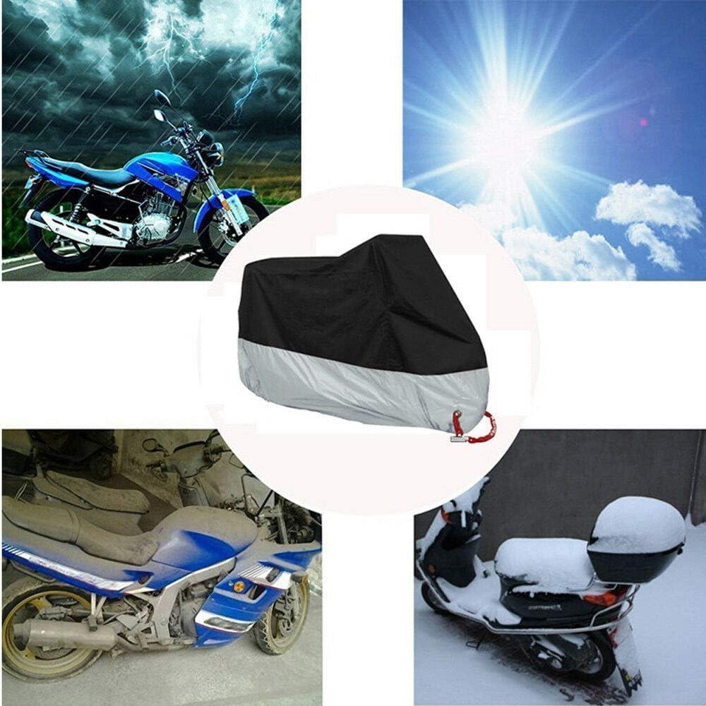 Funda impermeable para motocicleta con protección contra la lluvia y el polvo, color negro y plateado, para interior y exterior