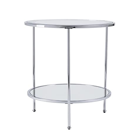 Sidetable Wit Met Glas.Amazon Com Furniture Hotspot Chrome And Glass Side Table
