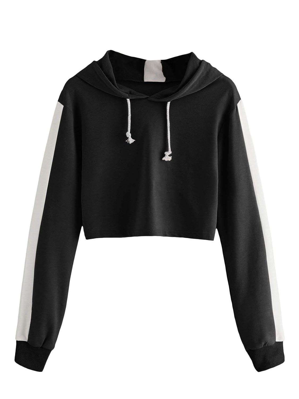 434e162879 SheIn Women's Long Sleeve Drawstring Hoodies Sweatshirt Colorblock Crop Top  at Amazon Women's Clothing store:
